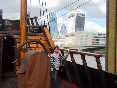 Aboard the Golden Hinde - look at the great view behind me