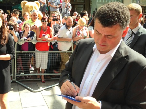 Stevie Moffat signing his autograph for me