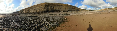 This is a panoramic shot of Southerndown Beach. But who's shadow is that?