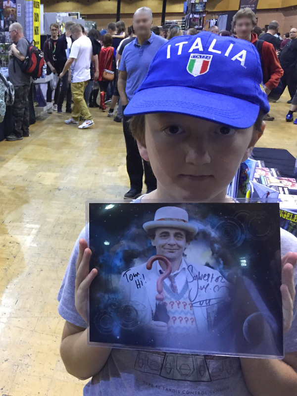 Tom with Sylvester McCoy's autograph
