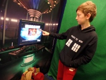 Tom at the green screen at the Doctor Who Experience