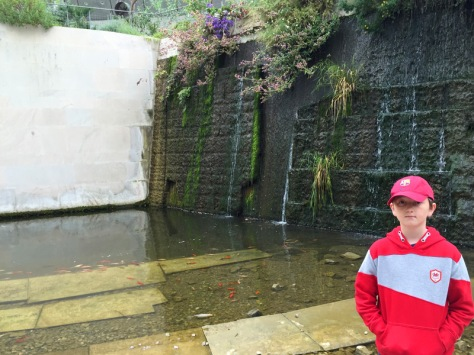 Tom by the waterfall in the National Botanic Garden of Wales