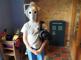 Tom as a Cyberman at West Wales Museum of Childhood