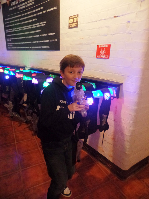 Tom at LaZer Battle on No Man's Fort