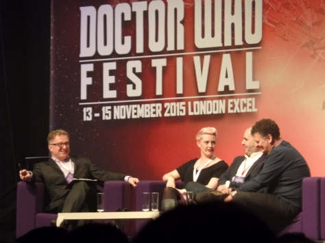 Meet the Writers at The Doctor Who Festival. Steven Moffat, Sarah Dollard and Peter Harness
