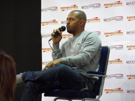 Noel Clarke giving a talk at Film & Comic Con Bournemouth