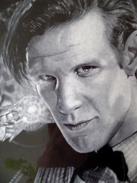 A pencil drawing of Matt Smith by artist Chris Baker