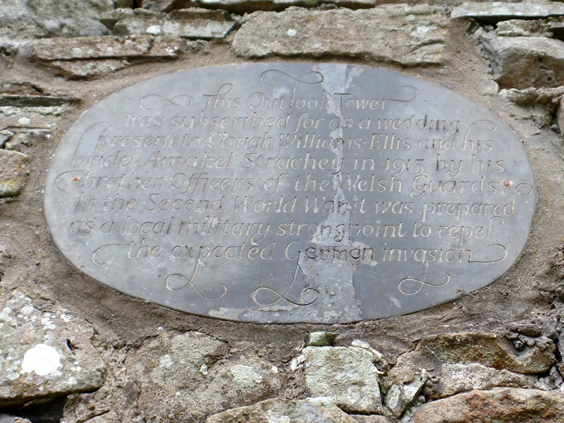 The plaque at Folly Tower at Plas Brondanw