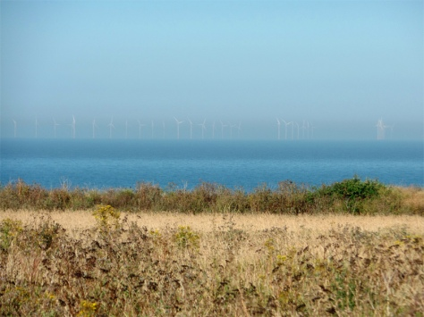 Thanet Offshore Windfarm from Botany Bay, Doctor Who filming location.