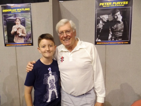 Tom Project Indigo meets Peter Purves from Doctor Who and Blue Peter at Film & Comic Con Bournemouth