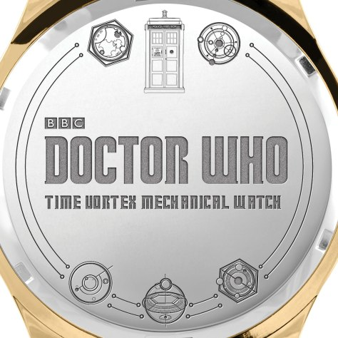 The rear casing of the Doctor Who Time Vortex Mechanical Watch by The Bradford Exchange
